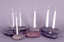 Stone Candleholders and Oil Lamps